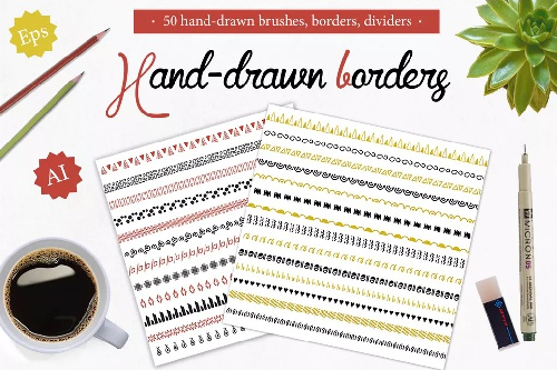 50 براش فتوشاپ handdrawn borders dividers